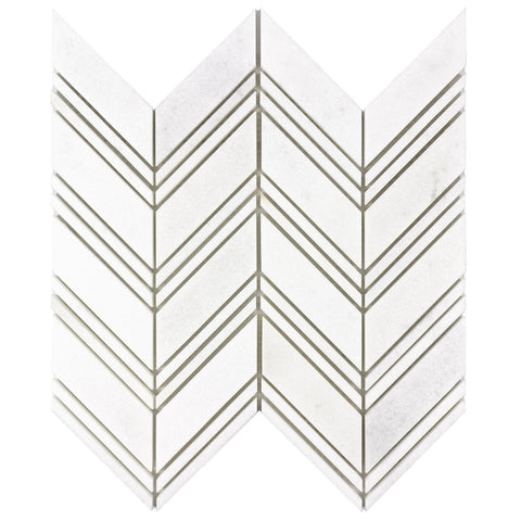 MTOW0042 Modern Linear White Marble Stone Mosaic Tile - Mosaic Tile Outlet