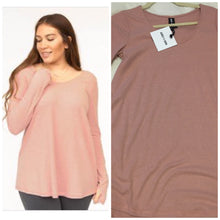 Load image into Gallery viewer, Heather Peach Long Sleeve Tee with Thumbhole
