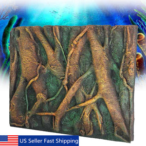 3D PU Tree Root Reptile Aquarium Fish Tank Background Board Plate Decor 60x45cm