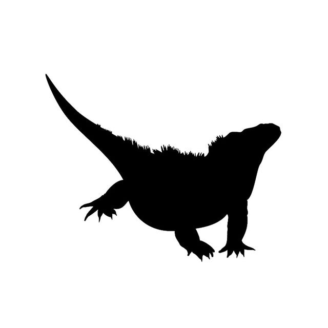 YJZT 12.3*9.8CM Lovely Reptile Bearded Dragon Decor Car Stickers Vinyl Accessories Black/Silver C12-1224