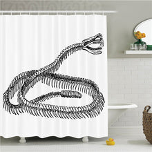 Load image into Gallery viewer, Reptile Black and White Reptile Skeleton Illustration Moving on the Ground Wild Exotic Snake Polyester Bathroom Shower Curtain