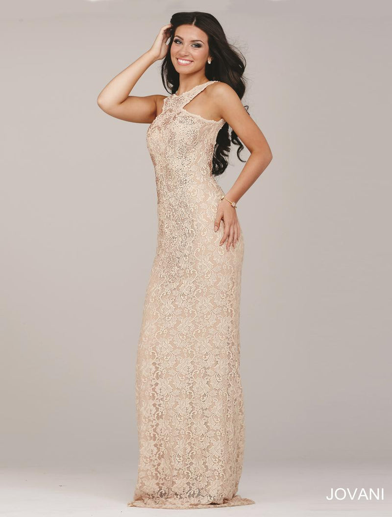 LACE BACKLESS JOVANI DRESS