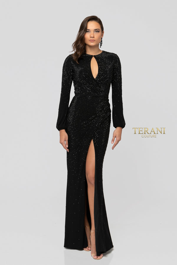 TERANI BLACK SLIT DRESS