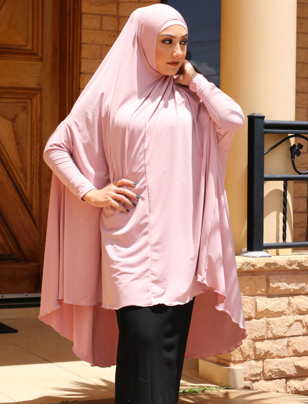 PINK JILBAB WITH SLEEVES