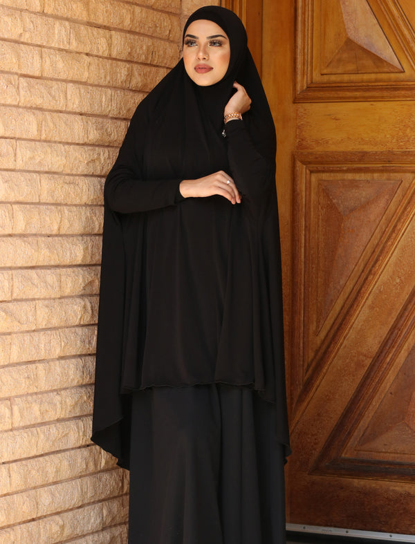 BLACK JILBAB WITH SLEEVES
