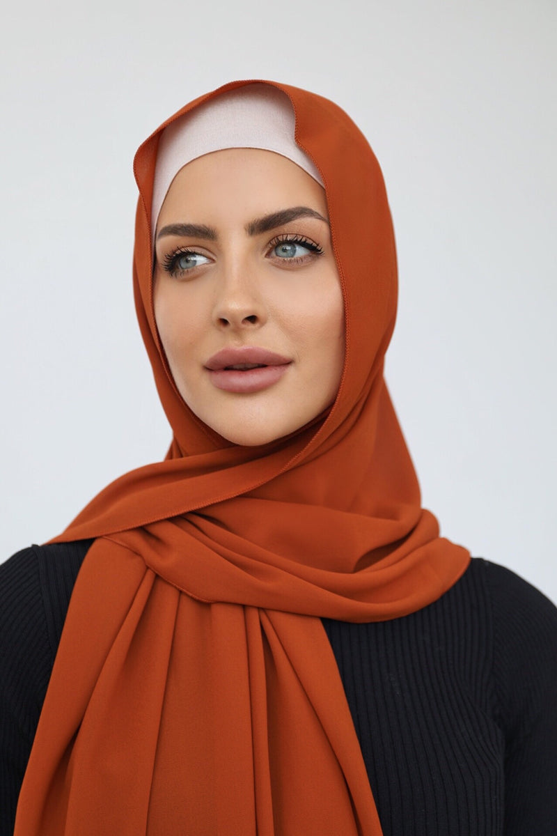 BURNT ORANGE CREPE SCARF