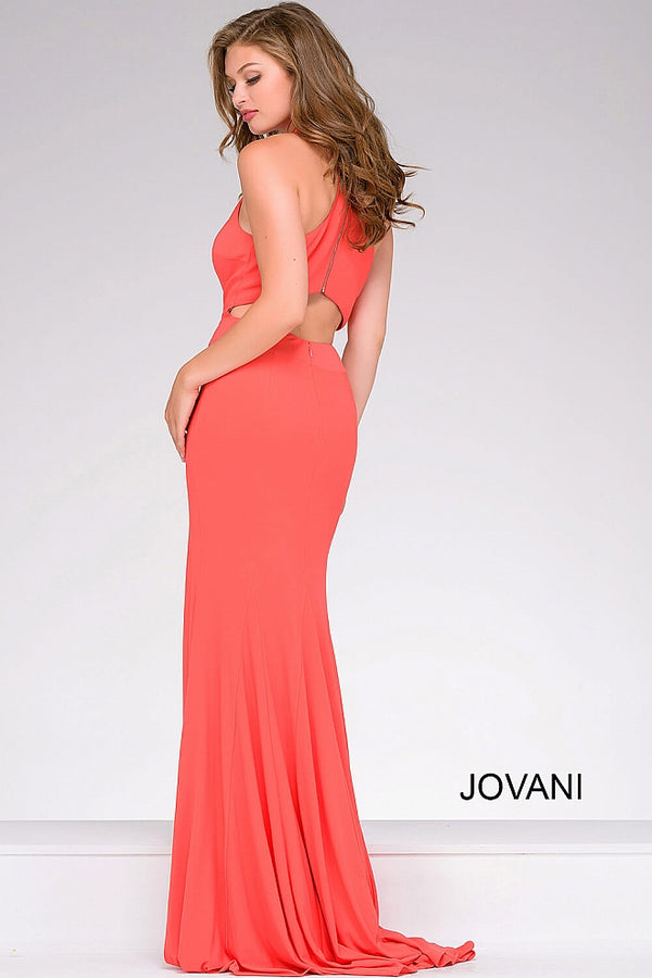 ORANGE HIGH NECK OPEN BACK DRESS