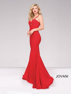 RED STRAPPED JOVANI DRESS