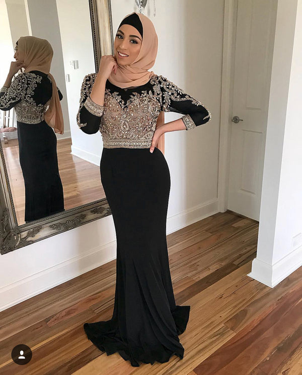 TERANI BLACK BEADED DRESS