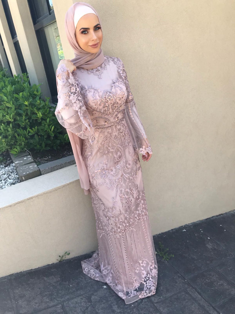 PINK THREE QUARTER SLEEVE GOWN