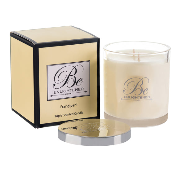BE ENLIGHTENED CANDLE FRANGIPANI
