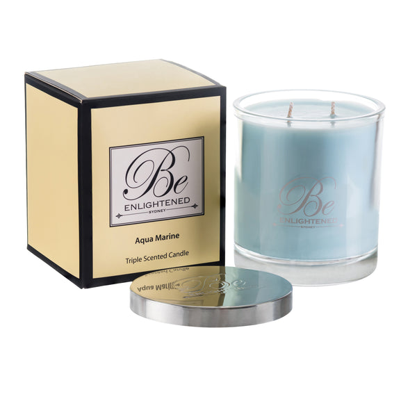 BE ENLIGHTENED CANDLE AQUA MARINE