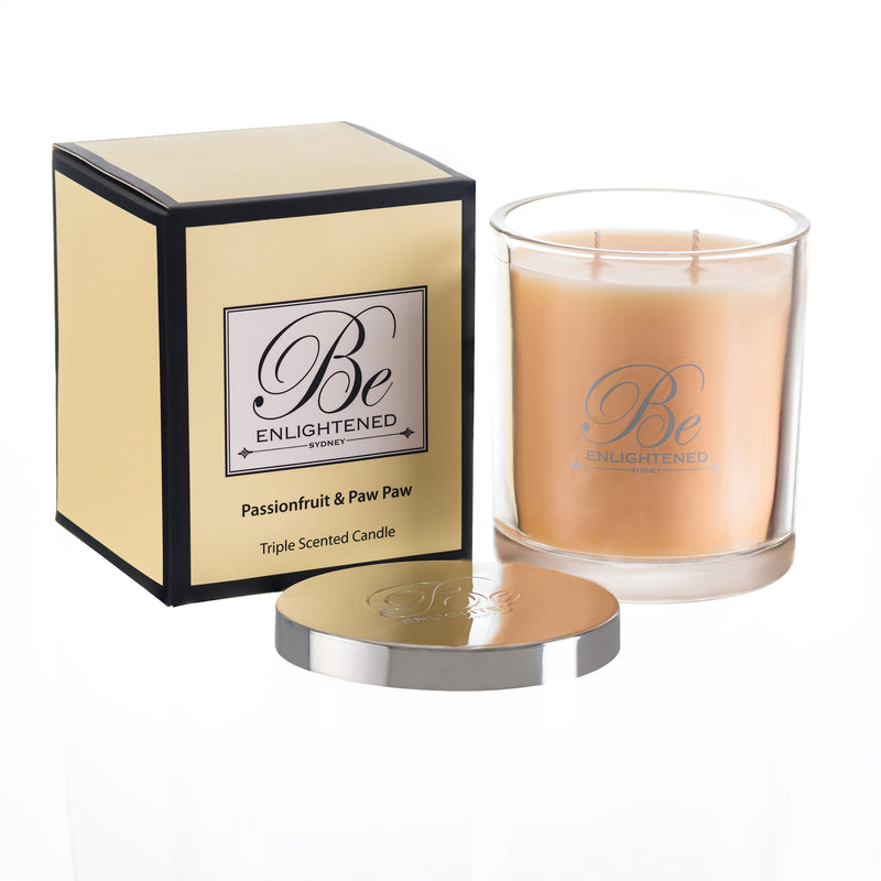 BE ENLIGHTENED CANDLE PASSIONFRUIT & PAW PAW