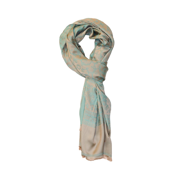 MINT-BEIGE COTTON SCARF
