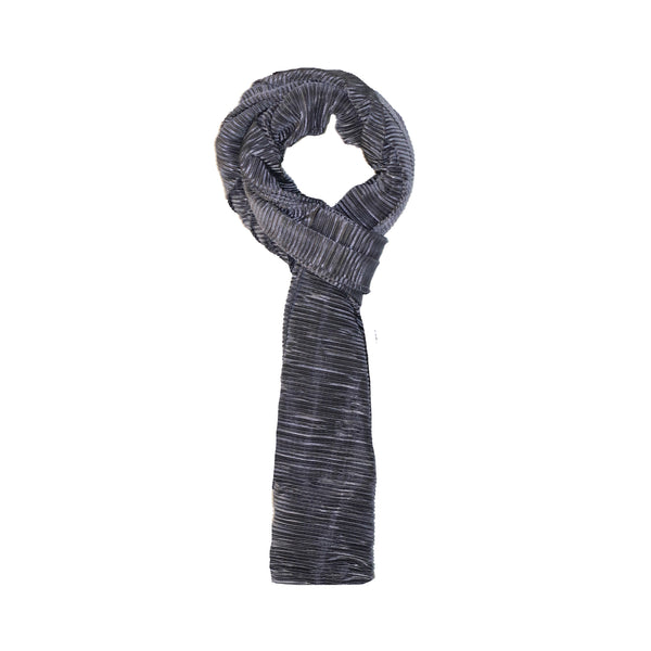 DARK GREY PLEATED SCARF