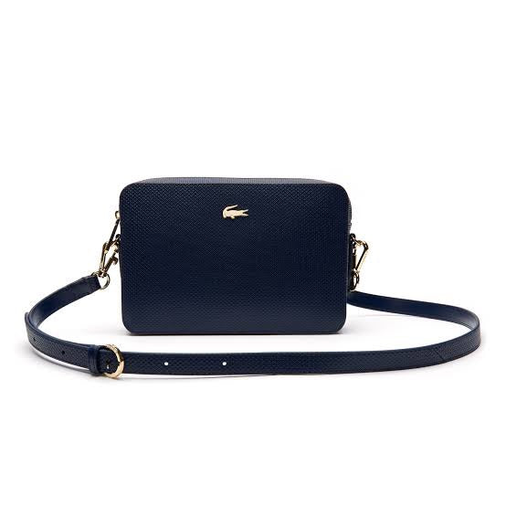 LACOSTE NAVY SQUARE CROSSOVER BAG