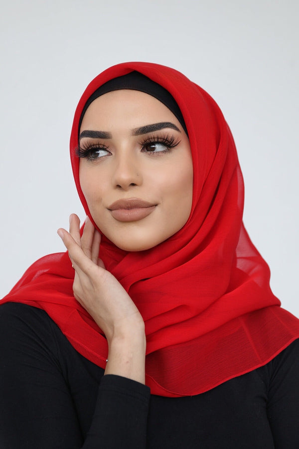 RED SHOT CHIFFON SQUARE HIJAB
