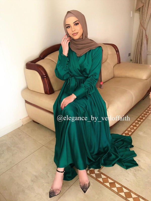 SIRMA SATEN EMERALD DRESS