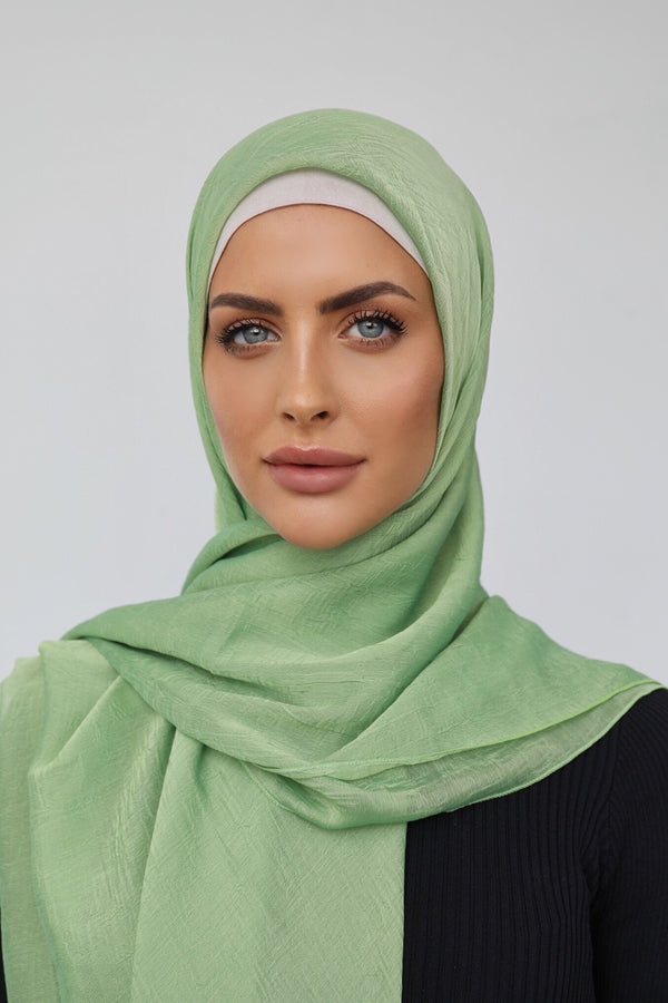 MINT CRINKLED SHOT CHIFFON SQUARE HIJAB