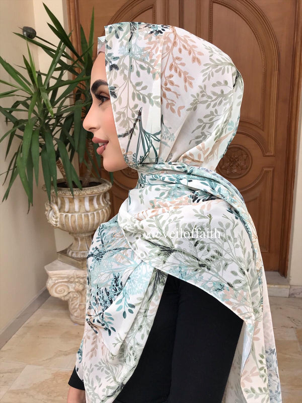AQUA PRINTED AUTUMN SCARF