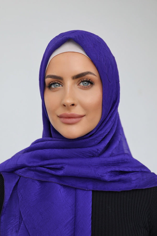 PURPLE CRINKLED SHOT CHIFFON SQUARE HIJAB