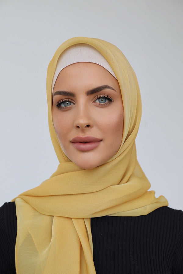 YELLOW SHOT CHIFFON SQUARE HIJAB