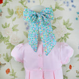 Child Bow Mask - Aqua Floral