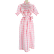 Women's Adelaide Dress - Light Pink Gingham/White