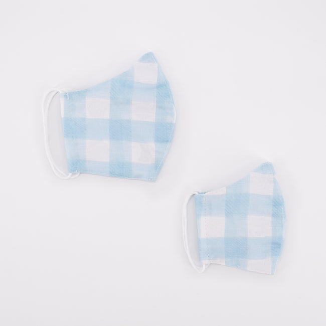 Daisy Love Plain Blue Gingham - Child Regular Mask