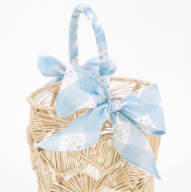 Blue Daisy Love Basket Bow Wrap