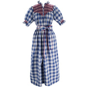 Women's Adelaide Dress - Blue Gingham/Red