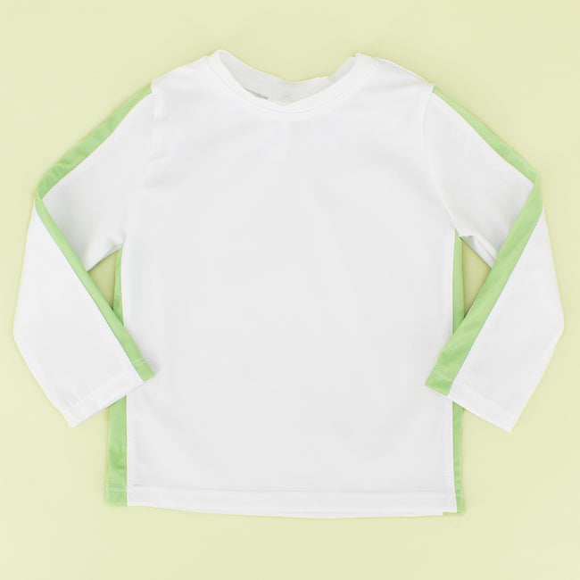 White/Green Stripe Boy  Rashguard