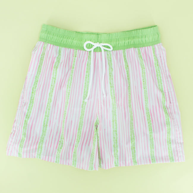 Green/Pink Stripe Dad Swimsuit