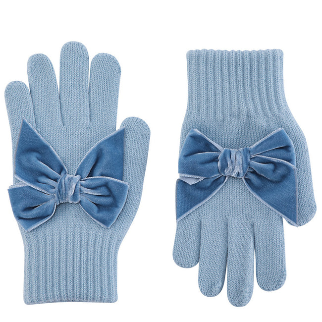 Gloves with Velvet Bow - Cloud