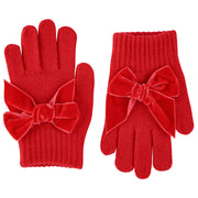 Gloves with Velvet Bow - Red