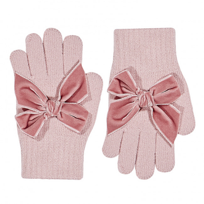 Gloves with Velvet Bow - Rose