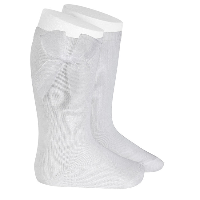 Knee Sock with Tulle Bow - White