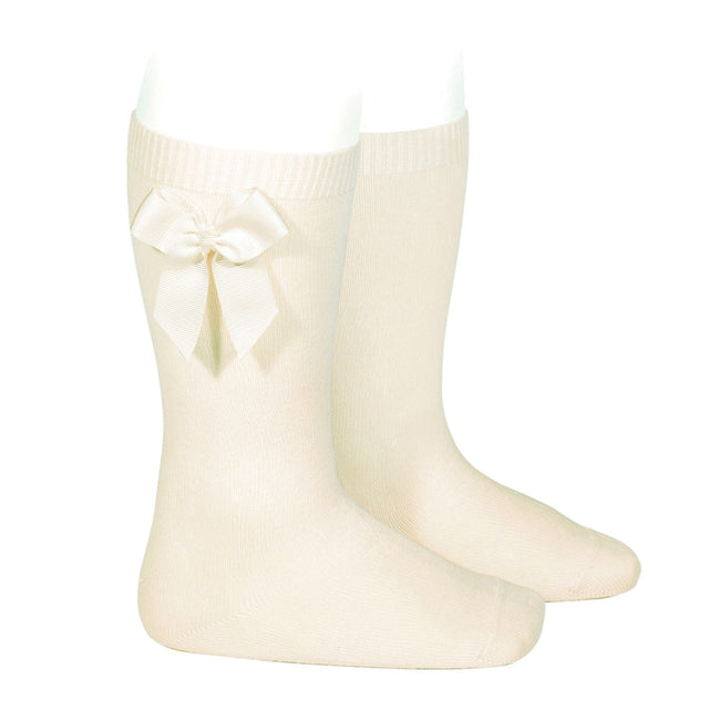 Knee Sock with Grosgrain Bow - Cream