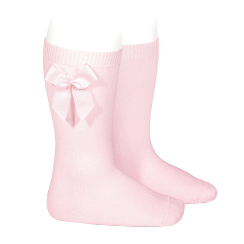 Knee Sock with Grosgrain Bow - Light Pink
