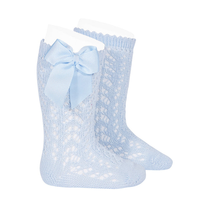 Crochet Knee Sock with Bow - Light Blue