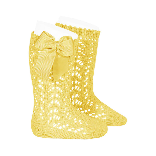 Crochet Knee Sock with Bow - Yellow