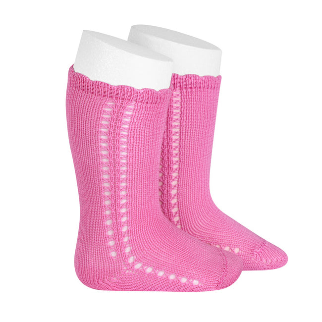 Crochet Knee Sock - Hot Pink