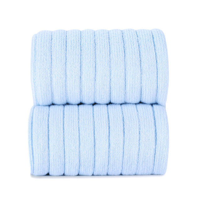 Ribbed Cotton Knee Sock - Light Blue