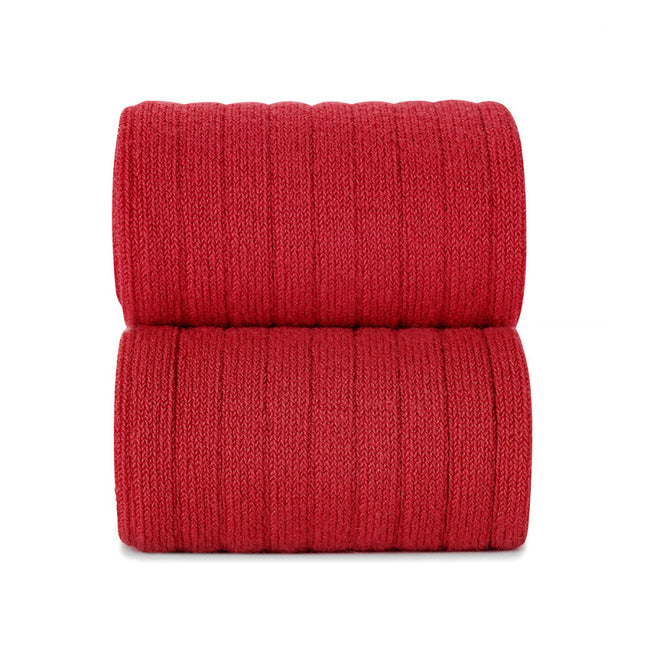 Ribbed Cotton Knee Sock - Red