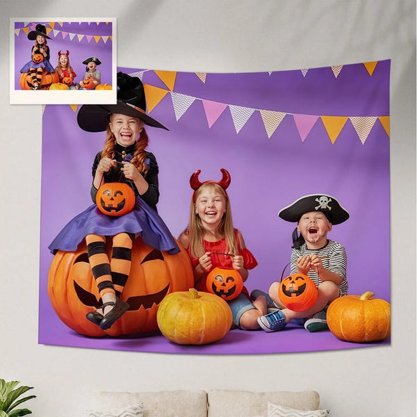 Custom Family Photo Tapestry Halloween Decoration Hanging Painting
