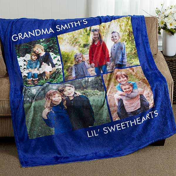 Personalized Love is All with 4 Photos Fleece Custom Blanket
