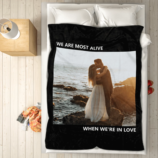 personalized perfect love with 1 photo fleece custom blanket