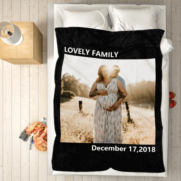 personalized family love with 1 photo fleece custom blanket