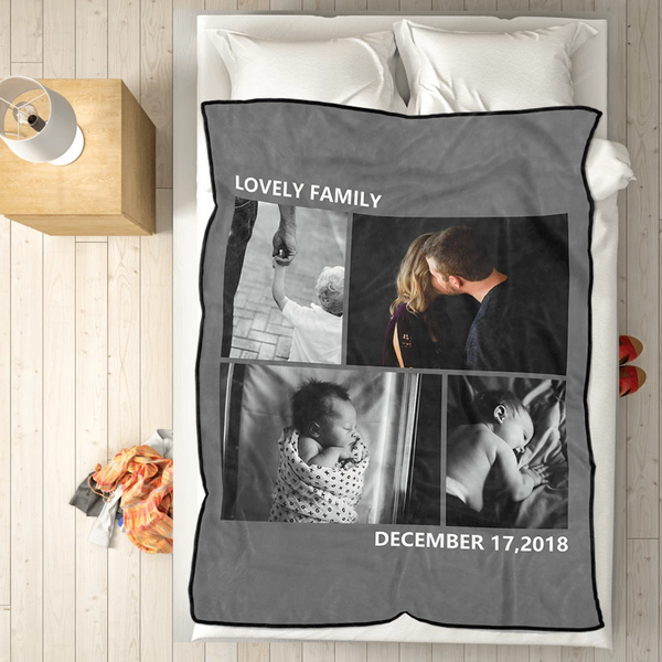 personalized family love with 4 photos fleece custom blanket