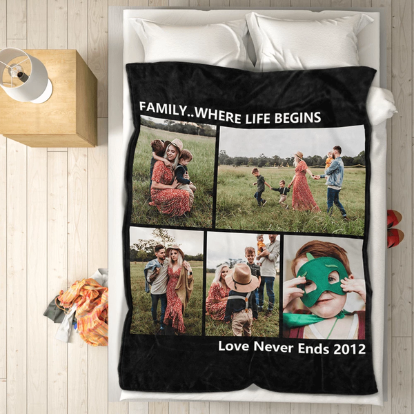 personalized friends family with 5 photos fleece custom blanket